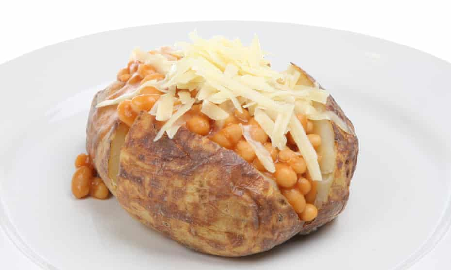 A jacket potato with baked beans and cheese: a comforting classic.