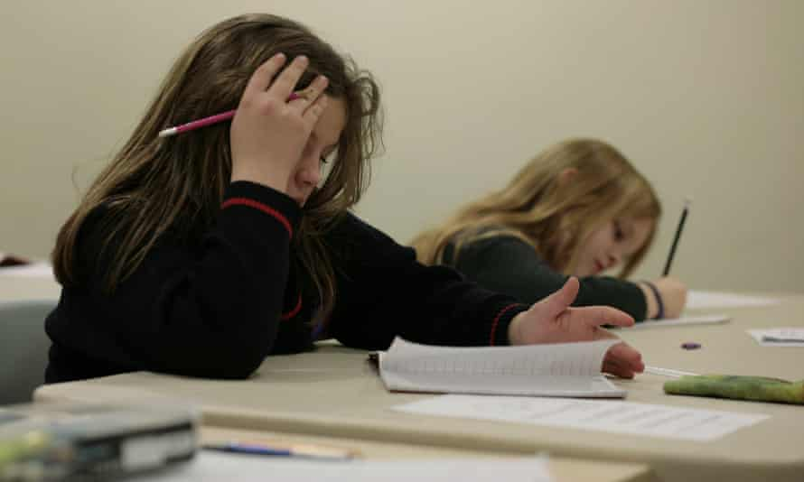 Children being coached for the 11-plus exam at evening classes in Kent.