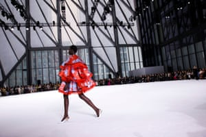 A model presents a creation from the Carolina Herrera autumn 2020 collection during New York fashion week.