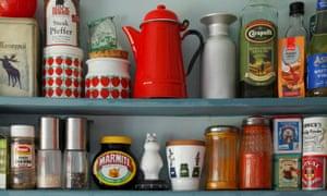 Colourful kitchen shelves