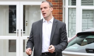 Dominic Raab speaks to reporters at home after resigning.