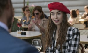 Lily Collins in a scene from Emily in Paris.