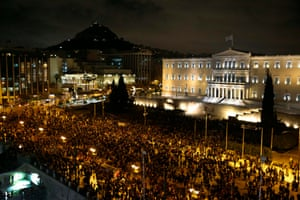 People gather for an anti-austerity demonstration outside the Greek parliament in Athens February 5, 2015.