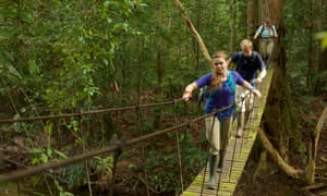 A boy and a girl cross a suspension bridge in Gunung Palung National Park, Borneo