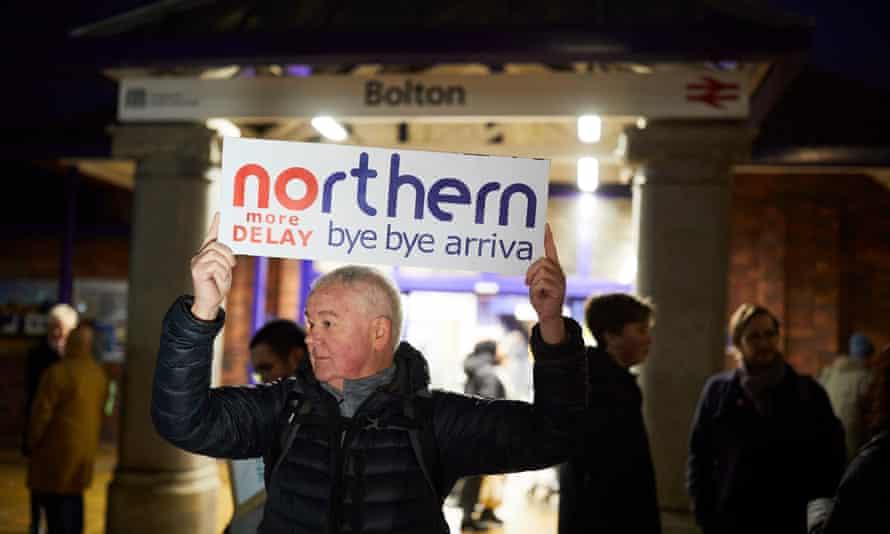 Campaigners outside Bolton train station