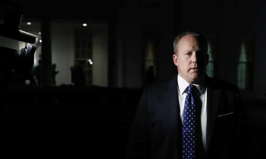 Sean Spicer in the darkness on Tuesday night.