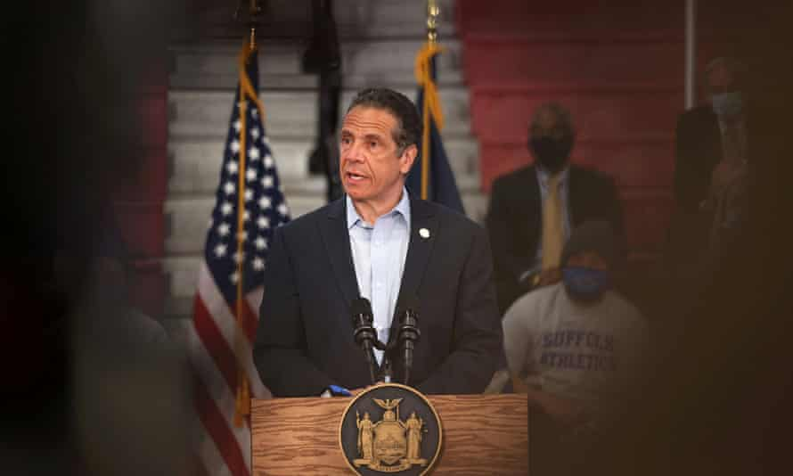 Andrew Cuomo speaks during a news conference in Brentwood, New York on 12 April 2021.