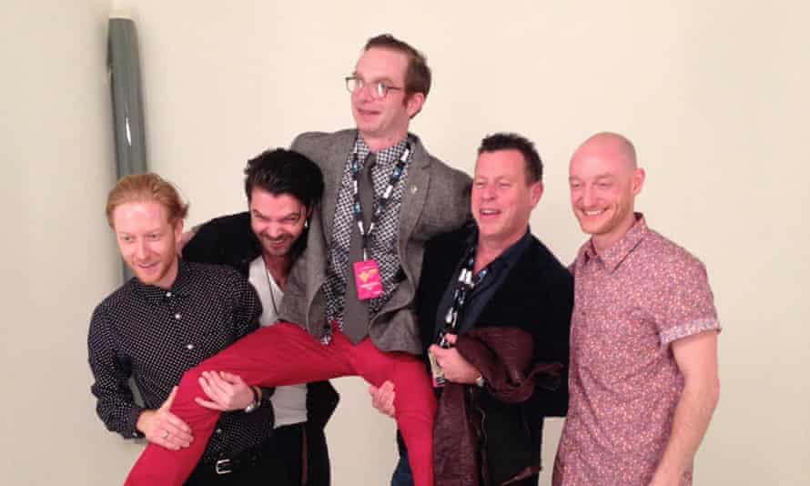Dan Martin, centre, being hoisted aloft by members of Biffy Clyro at the 2013 NME awards.