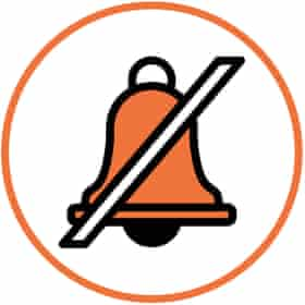 Illustration of bell with line through it in white circle with orange border