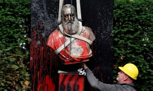 The vandalised statue of King Leopold II of Belgium in Ghent on June 30, 2020. The statue was vandalised during a protest action amid discussions to remove all Leopold 2 statues due to the misdeeds in his personal property Congo.
