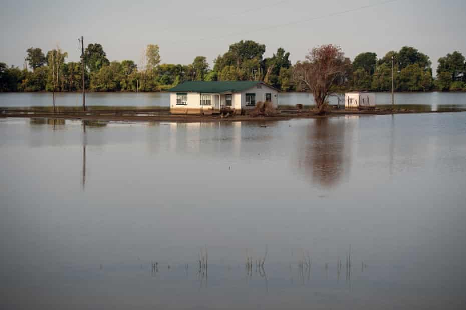 A home outside of Valley Park, Mississippi remains surrounded by floodwater. The brown line at the bottom of the house indicates the flood level at its peak. A good portion of the water receded after the Steele Bayou Control Structure gates were reopened in mid-July.