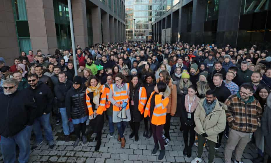 Google employees at its European headquarters in Dublin, Ireland, join others from around the world walking out of their offices in protest over claims of sexual harassment, gender inequality and systemic racism at the tech giant.