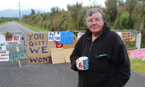 Pike river 'camp mother' Marilyn Corson in front of the blockade