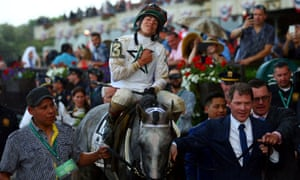 Jockey Irad Ortiz Jr and Creator are walked to the winner's circle after winning the 148th running of the Belmont Stakes on Saturday