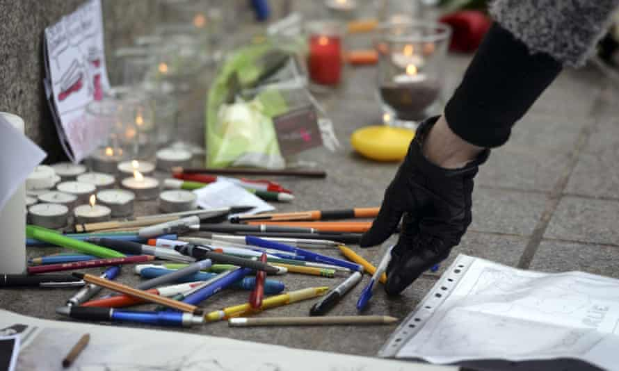 Pens placed at a tribute in Strasbourg after the Charlie Hebdo attack.