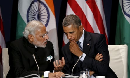 America's President Obama and Narendra Modi, the Indian prime minister, at the climate change summit in Paris.