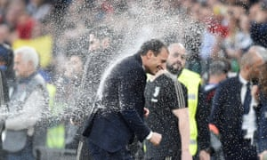 Massimiliano Allegri celebrates after Juventus beat Fiorentina.