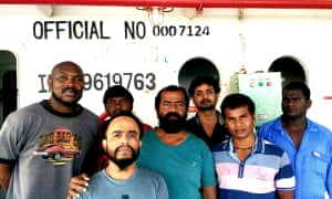 Captain Ayyappan Swaminathan with members of the MV Azraqmoiah cargo ship's crew