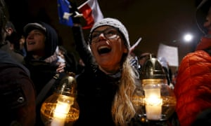 Protesters shout slogans during an anti-government demonstration in front of PiS (Law and Justice) leader Kaczynski's house in Warsaw