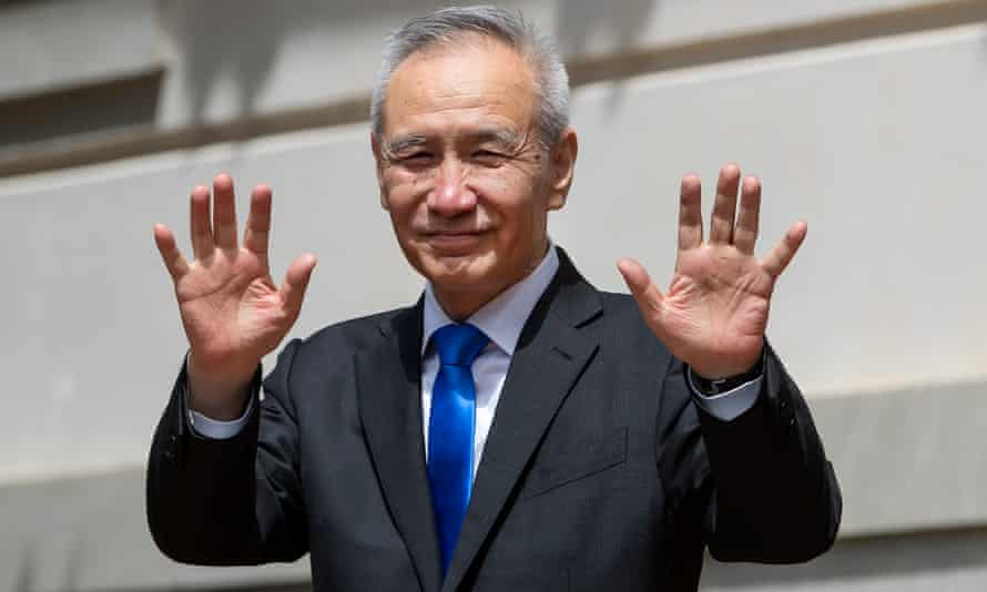 The Chinese vice-premier, Liu He, leaving trade talks with US officials on Friday.