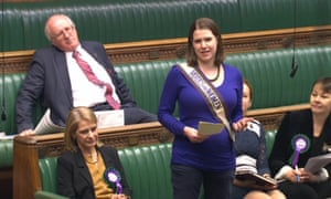 Jo Swinson wearing a 'Votes for Women' sash in the Commons on the 100th anniversary of the Representation of the People Act.