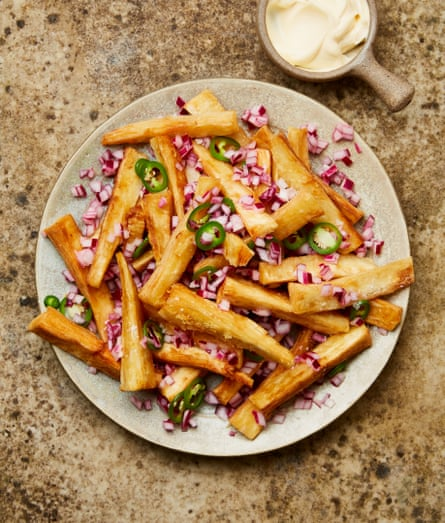 Yotam Ottolenghi's yuca fries with pickled onions.