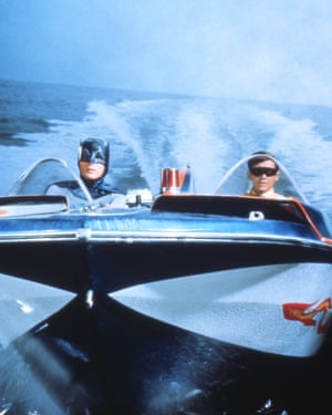 The Dynamic Duo riding in the Batboat