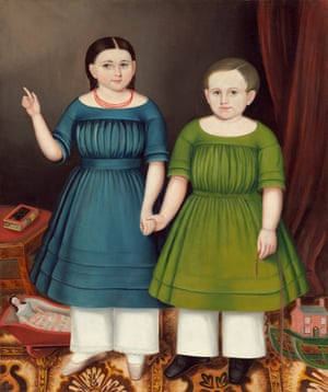 Mary and Francis Wilcox - Joseph Whiting Stock.  A mysterious triptych of portraits of the children of Philo Franklin and Orpha Wilcox who died seven years later. There are eerie elements to this particular portrait with the finger pointed up to the sky and a book called Remember Me sitting alongside.