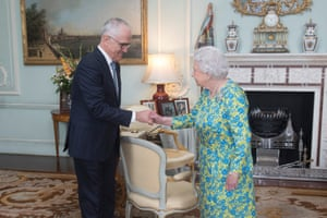 Malcolm Turnbull at an audience with Her Majesty in Buckingham Palace on Tuesday