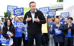 David Cameron speaks to supporters during the launch of the battle bus for the Vote Remain campaign in London, 2016.