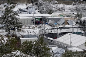 The snow-covered Moria camp