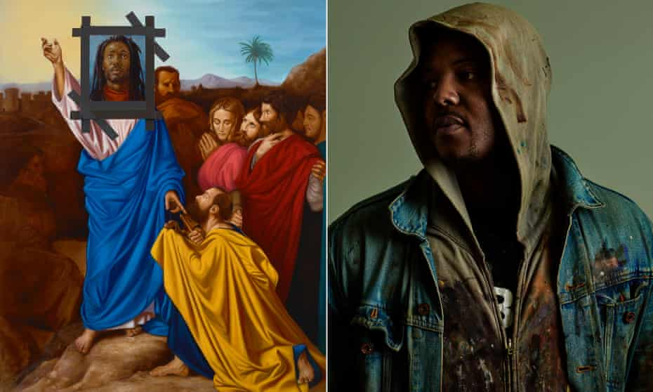 Jesus Noir, a picture by Ingres modified by Titus Kaphar, right.
