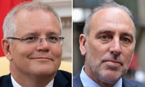 Australian prime minister Scott Morrison and founder of the Hillsong Church, Pastor Brian Houston