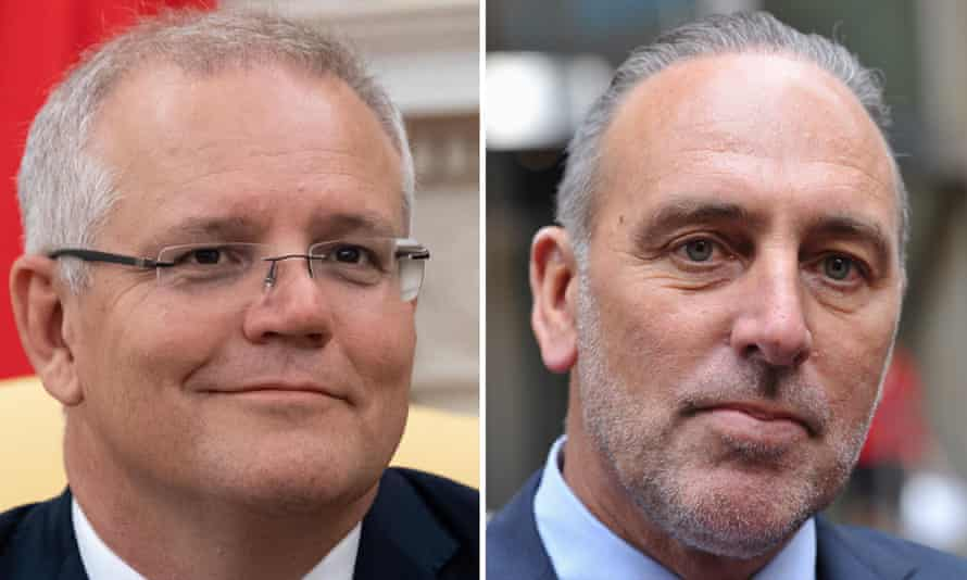 Australian prime minister Scott Morrison and Hillsong Church founder Brian Houston. A child sexual abuse victim of Houston's father Frank says he is 'absolutely lost for words' that the PM continues to support Houston.