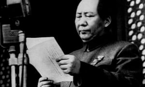 Mao Zedong stands in Tiananmen Square in Beijing, declaring a New China, 1 October 1949.