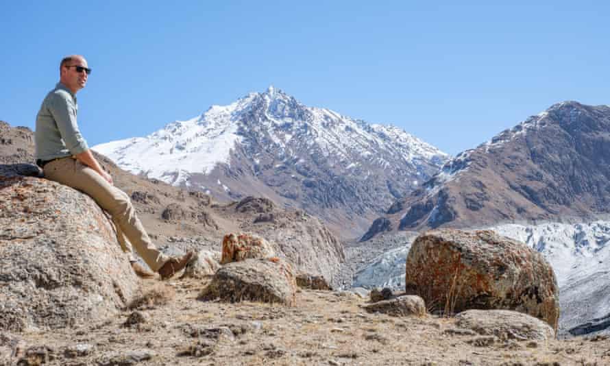 Prince William at the Chiatibo glacier in the Hindu Kush mountain range in Pakistan