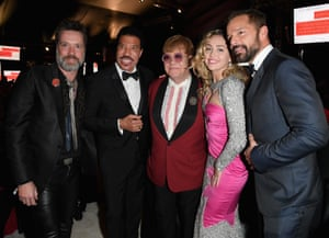 Rufus Wainwright, Lionel Richie, Sir Elton John, Miley Cyrus, and Ricky Martin at Elton John AIDS Foundation viewing party