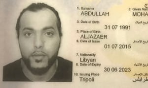 Part of a Libyan passport shown as evidence in the trial of Mohammed Abdallah.