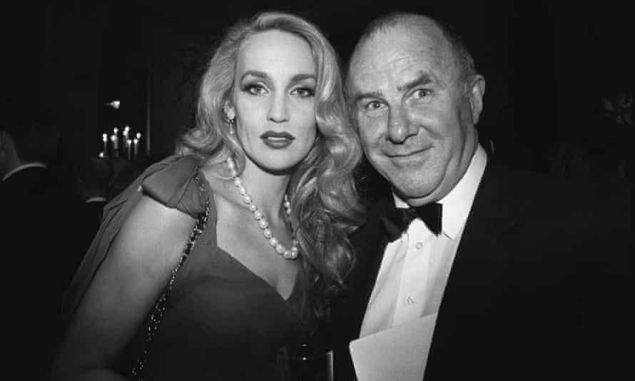 A familiar image of James mixing with celebrities – in this case Jerry Hall at the Bafta awards – from the 1990s.