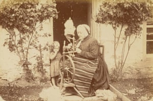 Woman spinning wool, 1890