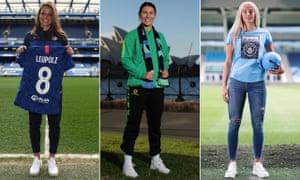Melanie Leupolz of Chelsea, Arsenal's Steph Catley and Manchester City's Chloe Kelly.