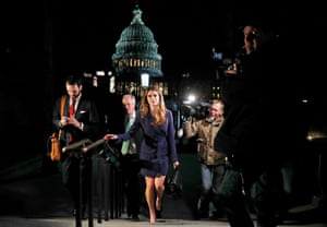 Leaving after attending the House Intelligence Committee closed door meeting at the U.S. Capitol in Washington, U.S., February 27, 2018