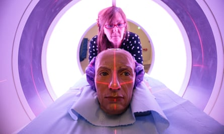 Conservator and restorer Valerie Kaufmann with a waxwork head of Admiral Lord Horatio Nelson in a CT scanner before it is examined in the radiology department at St Thomas' hospital.