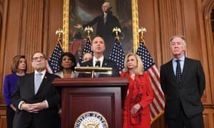 Democrats announced articles of impeachment against Donald Trump during a press conference at the US Capitol on Tuesday.