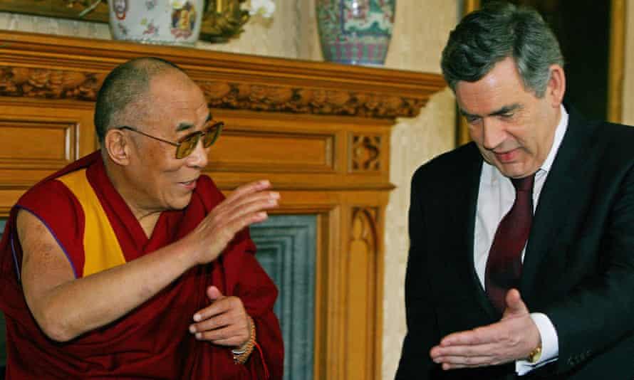 The Dalai Lama meets former British prime minister Gordon Brown at Lambeth Palace in London, in 2008.