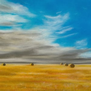 Summer Vastness Pastel painting of a field with bales under a deep blue sky with clouds