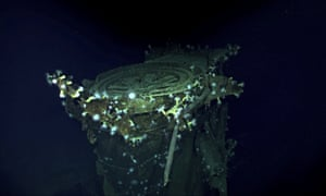 Photos of the sunk carrier Kaga, submitted by underwater robots launched from the Petrel.
