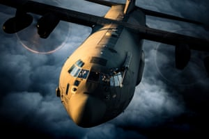 Current equipment category, second place. A C130J Hercules taking part in a training sortie over Abingdon, Oxfordshire.