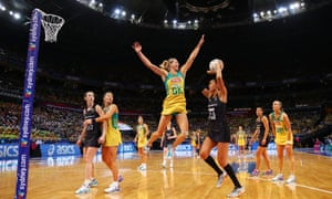 SYDNEY, AUSTRALIA - AUGUST 16: Maria Tutaia of New Zealand shoots as Laura Geitz of the Diamonds defends during the 2015 Netball World Cup Gold Medal match between Australia and New Zealand at Allphones Arena on August 16, 2015 in Sydney,