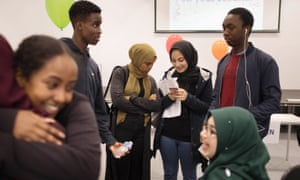 Students at Ark Academy, London, celebrate receiving their A-level results in 2018